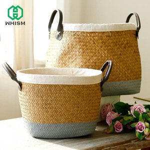 Wholesale paint basket for sale - Group buy Pastoral Handmade Seagrass Painted Linen Edge Flower Pot PU Handle Braided Rattan Woven Big Laundry Basket T200602