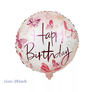 alles gute zum geburtstag ballons großhandel-18 zoll Runde Happy Birthday Folie Ballons Happy Birthday Bonging Letters Printed Party Aluminium Ballons Home Decor HHA3524