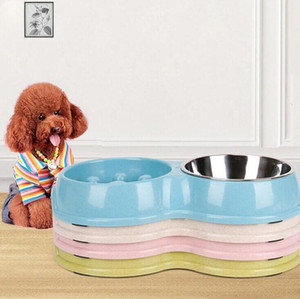 Wholesale indoor pet supplies resale online - Wheat Straw Double Bowls Staimless Steel Dog Pet Feeder Bowl Anti slip Cat Bowl Healthy Food Feeder Dish Dog Feeding Supplies EWC3652