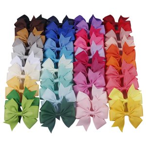 Wholesale designer back packs resale online - 40Pcs Pack in Solid Grosgrain Ribbon Hair Bows Hair Clip for Girls Handmade Pinwheel Hairgrips Hair Accessories