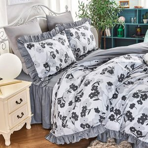 Wholesale king girl fashion for sale - Group buy Fashion flower ruffle bedding sets twin full queen king girl cotton single double bedclothes bedspreads pillow case quilt cover