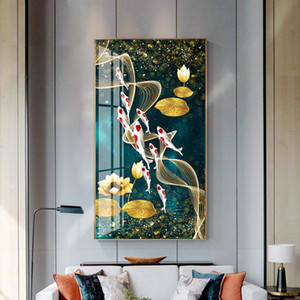 Wholesale koi fish canvas art resale online - Wall Art Picture HD Print Chinese Abstract Nine Koi Fish Landscape Oil Painting on Canvas Poster For Living Room Modern Decor