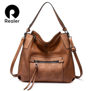 Wholesale tassel shoulder totes hand bag resale online - REALER women shoulder bag crossbody messenger bags for women Large hobos Totes bag luxury handbag PU leather gray hand bag