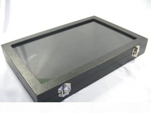 Wholesale glass displays cases resale online - Glass Top Lid Black Velvet Compartments Jewellery Display Case Box