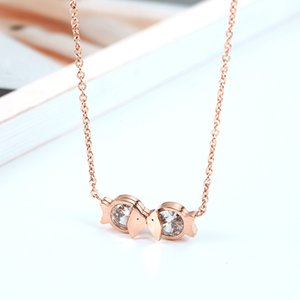 Wholesale gold fish plant resale online - Best Selling Handmade High Quality Womens Rose Gold Plated Stainless Steel Necklace Kiss Fish Necklace for Sale