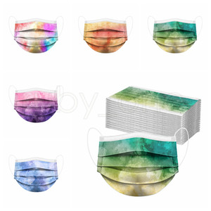Wholesale colored half masks resale online - Adults Colored Tie dye Disposable Face Mask Ply Non Woven Anti Dust Anti Pollution PM2 Disposable Mouth Cover Mask RRA2397