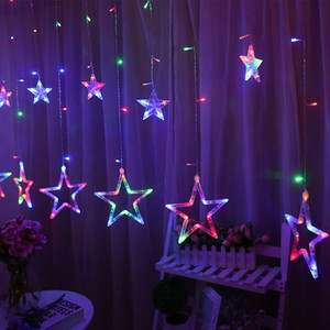Wholesale curtains s resale online - Pentagram LED Curtain String Lights Window Curtain Lights Flashing Modes Decoration for Christmas Wedding Party Home Patio Lawn GWE4017