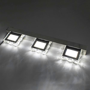 Wholesale bathroom lighting for sale - Group buy Hot selling W Three Lights Crystal Surface Bathroom Bedroom Lamp Warm White Light Silver Super brightness waterproof Wall Lamps