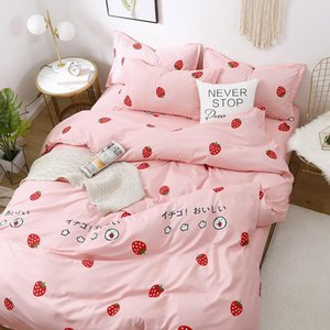 Wholesale kids pink bedding sets resale online - Cute Pink Strawberry Printed Girl Boy Kid Bed Cover Set Duvet Cover Adult Child Bed Sheets Pillowcases Comforter Bedding Set