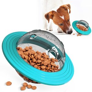 Wholesale dog treats for sale - Group buy Pet Dog Toy Food Dispenser UFO Ball Flying Discs Tumbler Slow Food Dog Training Treat Toy Bite Resistant Toy FY2053