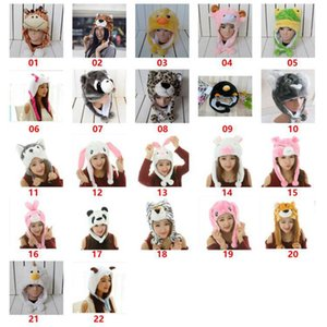 Wholesale crochet character hats for sale - Group buy Cute Plush Animal Character Winter Hat Fun Ski Cap Long Ear Straps Hoodie Unisex Winter hat KKA8288