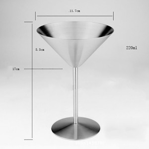 Wholesale martini glasses resale online - Cocktail Glass Cup Stainless Steel Wine Cup Hanap Wine Glass Martini Champagne Cup Goblet Bar Tools Mugs for Party SEA SHIPPING HHE4180