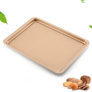 Wholesale pans gold resale online - Carbon Steel Baking Sheet Pan Inch Cake Cookie Pizza Tray Baking Sheet Plate Rose Gold Non stick Rectangle Baking Pan OWF3275