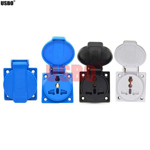 Wholesale universal socket outlets resale online - Black blue white A V IP44 round cover outdoor socket universal AC Power Socket Waterproof Dustproof Multifunction outlet
