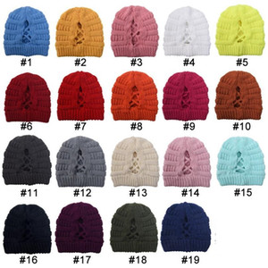 Women's cross horsetail hat autumn winter keeping warm hat versatile knitting hat party Ponytail Hats DB057