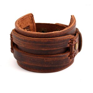 Wholesale vintage male jewelry resale online - whole sale2017 Handmade Brown Vintage Braclet Men Wide Leather Wrap Cuff Bracelets Bangles Wristband Retro Male Viking Jewelry Wholesale1