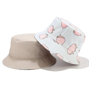 Wholesale strawberry hat resale online - Women Summer Strawberry Fruit Print Bucket Hat Reversible Double Sided Outdoor Sunscreen Vacation Packable Fisherman Cap