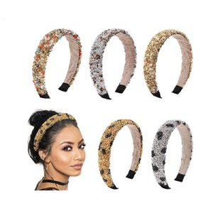 ingrosso mani di guarigione-Crystal Stone Headband Retro Hair Hoop Natural Healing Spugna Leopard Stampa Band Mano Band Mano Donna Fashion Capel Band Gioielli Accessori Christmas