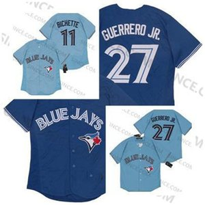ingrosso blank baseball blu maglie-Commercio all ingrosso Toronto Vladimir Guerrero Jr Jay Jersey Blue Bo Bichette Blank Blank Baseball Maglie Top Quality Mens Size