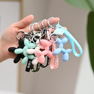 Wholesale cute korean charms for sale - Group buy korean Fashion Stereo Charm Cute Balloon Dog Keychain for women girls men Key ring Cartoon animal car Bag Pendant t