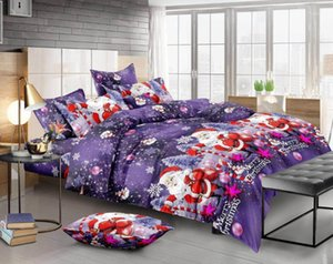 Wholesale christmas bedding resale online - 2 Queen King Size Bedding Duvet Cover Set Christmas Santa Claus D Cotton Quilt Cover Set Pillowcases Bedspread Gift1