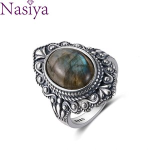 Wholesale silver labradors resale online - Nasiya Vintage Oval Natural Labrador for Women Sterling Silver Finger Ring Jewelry Rings Party Poison
