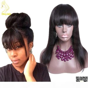 Wholesale ponytail bangs resale online - Glueless Full Lace Human Hair Wigs With Bangs Brazilian Straight Human Hair Wigs With Ponytails Full Air Bangs Full Lace With Baby Hair