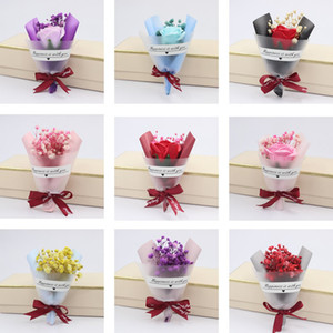 Wholesale valentine days resale online - Mini Christmas Valentines Day Gift Dried Artificial Flower Fake Gypsophila Bouquet Creative Eternal Gypsophila Bouquet Soap Flower PPD3869