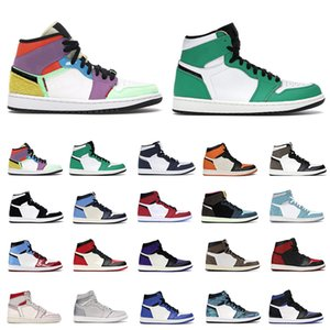 Men Trainer Sneakers Jumpan 1s Obsidian black toe lucky green bred 4 4s black cat white cement mens sports shoes