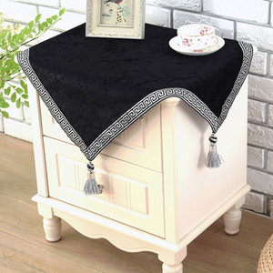Wholesale blue table cloths for sale - Group buy European top grade bedside cabinet cover English black tea table cloth New china style night table cover patchwork with tassels LJ201223