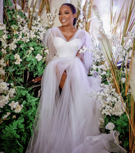 Wholesale africa dresses resale online - Vintage Wedding Dresses A line Wedding Dress Africa Bridal Gowns Plus Size Long Sleeves Pears High Split Tulle Buttons Custom Made