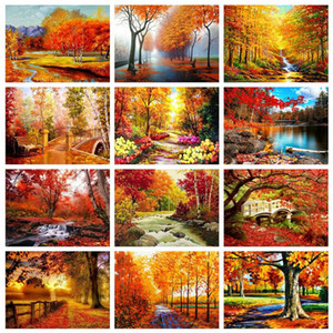 Wholesale landscapes autumn paintings for sale - Group buy Evershine Diamond Painting Autumn Cross Stitch Kit D DIY Mosaic Embroidery Landscape Tree Full Square Rhinestone Crafts Gift