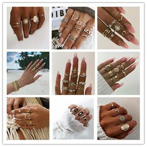 Wholesale kinds crown resale online - Kinds Of Style Ring Sets Bohemia New Diamond Crown Water Drop Retro Style Joint Ring Women s Jewelry Gifts