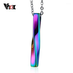 Wholesale men stylish pendant resale online - Vnox Stylish Twisted Bar Pendant Necklace for Men Unisex Stainless Steel M bius Band Design Multi Color Male Jewellry quot Chain1
