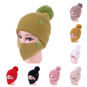 Wholesale girl masks resale online - Womens Mask and Hat Girls Knit Beanie Winter Cap Hats with Face Mask Two Piece Sets Knitted Pom Beanies Ski Cycling Slouchy Headwear E111903