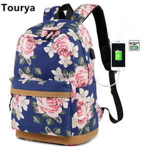 charge sac à dos pour les femmes achat en gros de-news_sitemap_homeTourya Canvas Femmes Sac à dos à dos Floral Impression USB Charging Sacs d école pour adolescents Girls GRAND CAPACITE VOYAGE Ordinateur portable BAGPACK