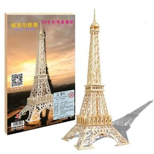 Wholesale sold eiffel tower resale online - 3D three dimensional puzzle wooden toy stall selling children s educational and creative Eiffel Tower promotional gifts Y200413