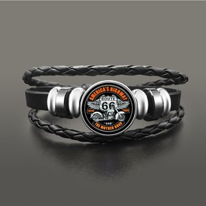 Wholesale route 66 for sale - Group buy Classic Us Route Bracelet Jewelry Punk Leather Glass Dome Cabochon Button Snap Bracelets for Men Women