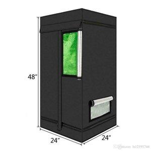 "24""x24""x48"" Hydroponics Grow Tent Non Toxic Indoor Room Convenient Zipper Door"