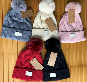 Wholesale crochet winter ear warmer resale online - Winter Beanies Australia Design Knitted Hats Pompon Skull Caps Women Girls Bonnet Label Warm Crochet Hat Knit Cap Warm Ear Muff Beanie Xmas