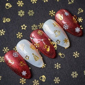 Wholesale lily nails for sale - Group buy FOUR LILY Christmas Series Stickers Gold Silver Snowflake Nail Sticker Decals New Year Manicure Design Decorations Accessories