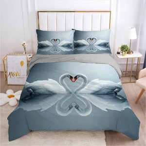 Wholesale swan bedding set queen resale online - 3D Animal Swan Design Bedding Sets Duvet Cover Set Gray Quilt Covers and Pillow Shams Comforther Case King Queen Size Bedclothes