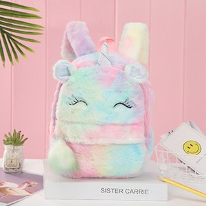 Wholesale girl children books resale online - Cartoon Backpack Girl Plush Unicorn Cute Fashion Fur Backpacks Children Schoolbag Kids Gift Book Bag