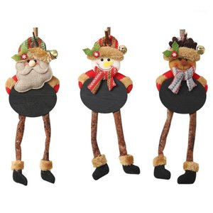 Wholesale blackboard hang for sale - Group buy Santa Claus Christmas Snowman Elk Doll Hanging Leg Blackboard New Year Kids Xmas Decoration Home Gift1