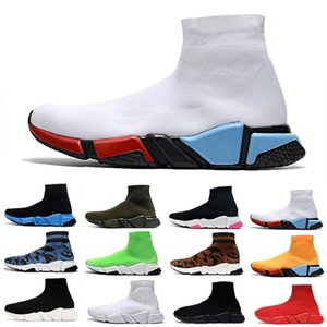 Wholesale cooling socks resale online - Cool cushion trainers fashion sock shoes men women running shoes lurex knit graffiti camo black red white yellow mens sports sneakers