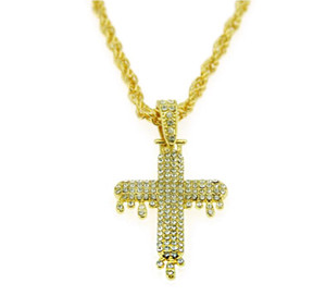 Wholesale hiphop jewelry for sale - Group buy crystal hiphop religious jewelry findings austrian crystal pendant necklace jewelry for woman mens snow jewelry necklace