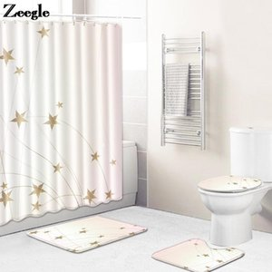 Wholesale modern bath rooms for sale - Group buy 4pcs Modern Home Decor Bath Mat and Shower Curtain Set Flannel Absorbing Toilet Mat Washable Bathroom Shower Room Carpet Rug