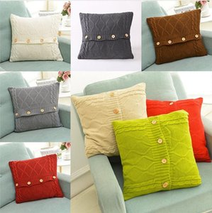 Wholesale crochet pillow cases resale online - Knitted Pillow Case Cover European Crochet Button Sofa Car Cushion Cover Home Decor Christmas XMAS Gifts cm OWA2530