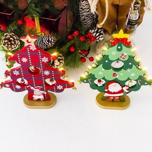 Wholesale christmas ornament kits for sale - Group buy Wooden Christmas Tree with LED Light DIY Kit Xmas Ornaments New Year Party Mini Decoration Christmas Desktop Home Decor1