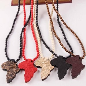Wholesale men stylish pendant for sale - Group buy New Fashion Jewelry Wood Made Bead Chains Necklaces Stylish Africa Map Pendant Hip Hop Men Wooden Pendants Necklaces Gift1